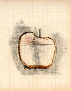 Pomme, mine de plomb et pastel gras sur papier, 14 x 21 cm