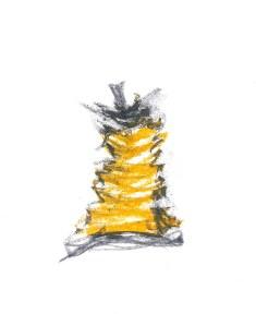 Trognon, mine de plomb et pastel gras sur papier, 14 x 21 cm