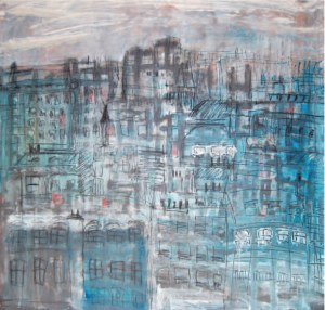 Les toits de Paris, technique mixte sur toile, 110 x110 cm