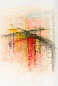 Série des Ponts technique mixte sur toile, 110 x 100 cm, 2018